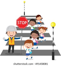 Traffic guard helping school kids crossing the street by holding a stop sign
