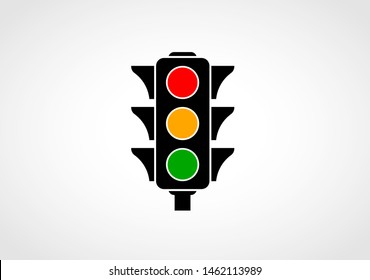 Traffic icon with red, yellow and green signals. Isolated on white background