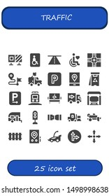 traffic icon set. 25 filled traffic icons.  Collection Of - Roadblock, Wheelchairs, Road, Disability, Crossroad, Direction, Van, Parking, Gps, Danger, Train, Disabled, Delivery truck