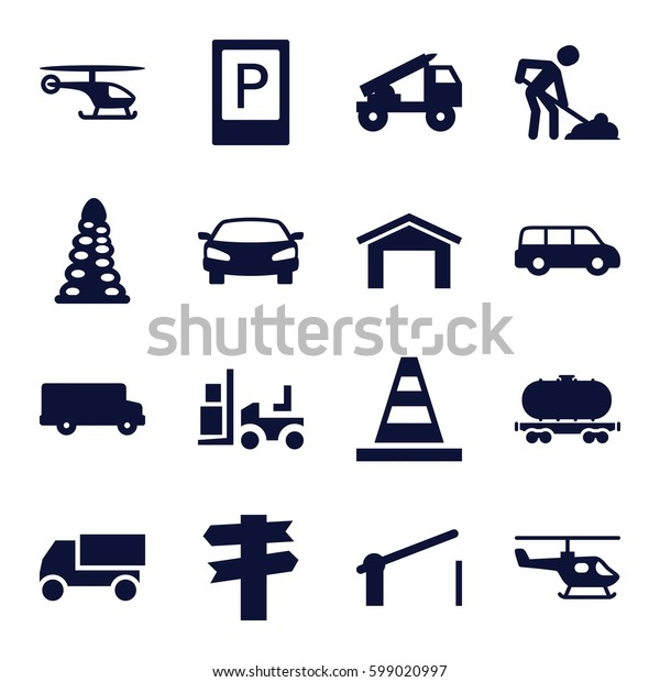 traffic icons set. Set of 16 traffic filled icons such as parking, garage, tunnel, cone, truck, digging man, forklift, cargo wagon, barrier, car, helicopter, truck rocket