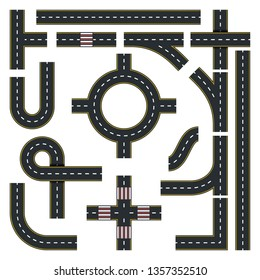 Traffic Interchange Kit. Set of Seamless Road Top View. Vector Illustration