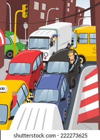 traffic jam in the city at rush hour illustration