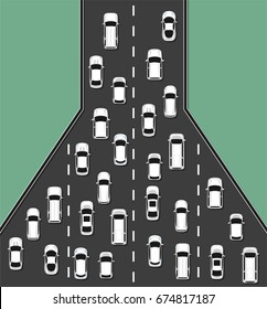 Traffic jam concept top view illustration. Traffic congestion on roads. Transportation problems concept. Vector illustration.