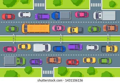 Traffic jam. Highway top view, trucks cars on road and car traffic control. Street driver, city vehicle air pollution or cargo jams cars driving art for game vector illustration
