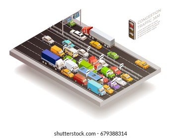 Traffic jam isometric top view design concept with stoplight cars and trucks on multilane roadway vector illustration