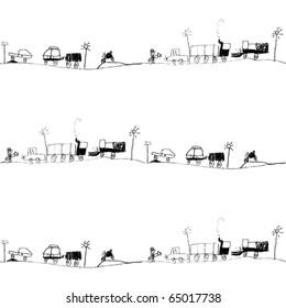 traffic jam, kid's drawing seamless pattern