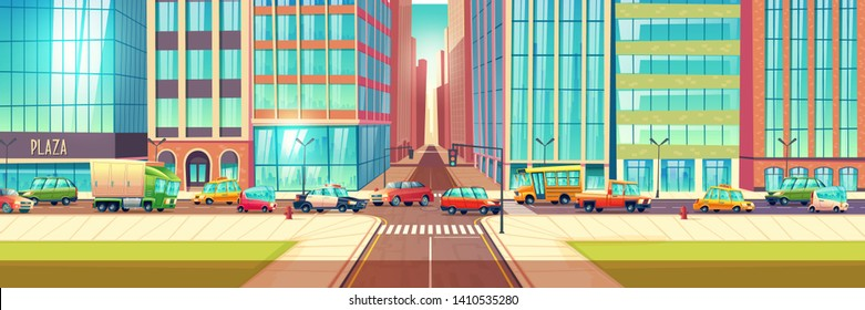 Traffic jam on city streets cartoon vector concept with lots of cars, passenger, cargo, taxi, police vehicles and bus going on road crossing near metropolis skyscrapers illustration. Urban transport