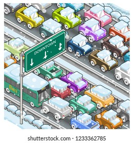 Traffic jam on a highway in winter during heavy snowfall (isometric vector illustration)