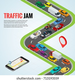 Traffic jam and Road way location. Mobile gps navigation flat isometric high quality city transport car urban public and freight transport for infographics