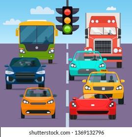 Traffic jam rom different cars. Vector flat style  illustration