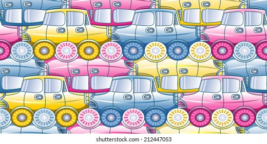 Traffic jam - seamless pattern with stylized cars in three shades - vector illustration.