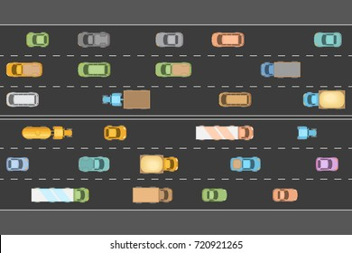 Traffic jam. Top view. The road with various vehicles in traffic.  View from above.