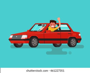 Traffic jams. Angry man swears in the car. Vector illustration of a flat design