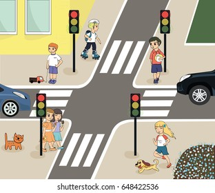 Traffic Laws Rules Road Children Crossroads Stock Vector Royalty