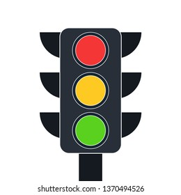 Traffic lifgt icon isolated on white background. Vector flat design