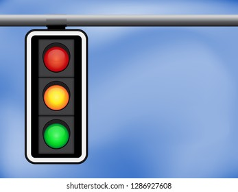 Traffic light and blue sky background