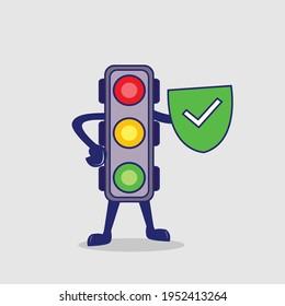 Traffic light cartoon with safety shield sign board illustration
