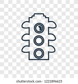 Traffic light concept vector linear icon isolated on transparent background, Traffic light concept transparency concept in outline style