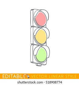 Traffic light. Crossroad. Editable outline sketch. Stock vector illustration.