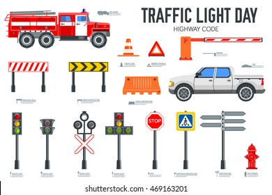 Traffic light day and highway code icons set. Vector Urban sign road transportation illustration equipment.