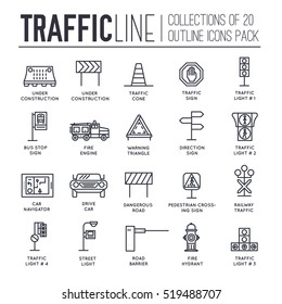Traffic light day and highway code outline icons set. Vector thin line Urban sign road transportation illustration equipment