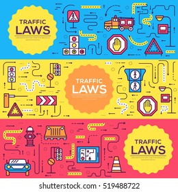 Traffic light day and highway code outline icons set. Vector thin line Urban sign road transportation illustration equipment banners