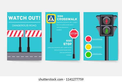 traffic light day vector brochure cards のベクター画像素材