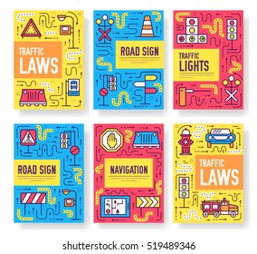 Traffic light day vector brochure cards thin line set. Urban template of flyear, magazines, posters, book cover, banners. Layout road transportation outline illustrations modern pages