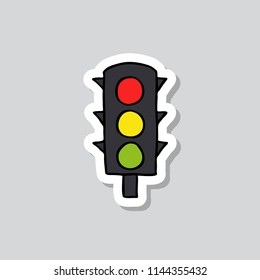 traffic light doodle sticker icon