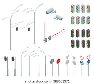 Traffic light. Flat 3d isometric city street urban objects icon set. Red, yellow, green lights - Go, wait, stop. Road design elements for urban roads
