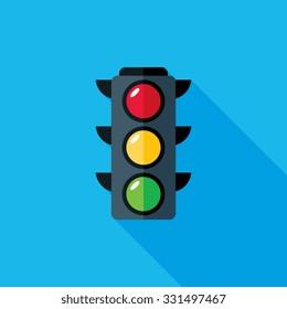 Traffic Light Flat Long Shadow Icon