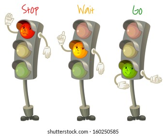 Traffic light. Follow the rules of the road. Rules for pedestrians. Vector illustration. Isolated on white background