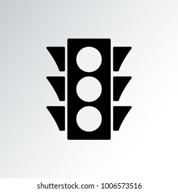 Traffic light icon. Black silhouette on gray background. Vector illustration