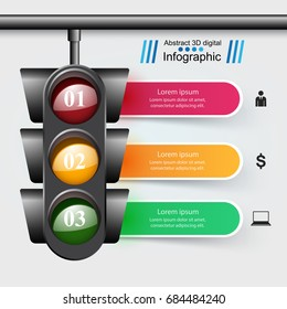 Traffic light icon. Business, travel inofgraphic. Paper illustration.
