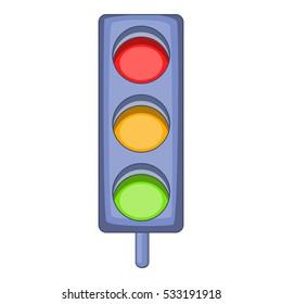 Traffic light icon. Cartoon illustration of traffic light vector icon for web