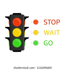 Traffic Light icon in flat style. Semaphore isolated on white background. Simple traffic lights with red, yellow, green lights - go, wait, stop. Vector illustration EPS 10.