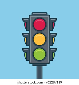 Traffic light icon. Flat style