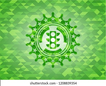 traffic light icon inside green emblem with triangle mosaic background
