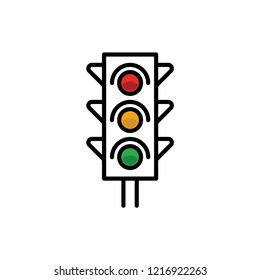 Traffic light icon. Red, yellow and green. Linear vector illustration.
