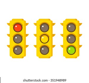 Traffic light icons in three states: red, yellow and green. Vector illustration in flat cartoon style.