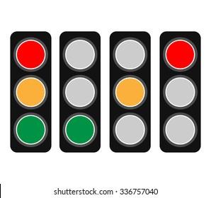 Traffic Light / Traffic Lamp Set. Vector Illustration.