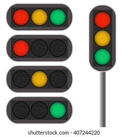 Traffic light. Led backlight. Red color. Continued movement on the green light. Cars at the intersection. The rules of the road. Vector illustration.