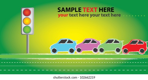 Traffic light and many cars on green background,Vector