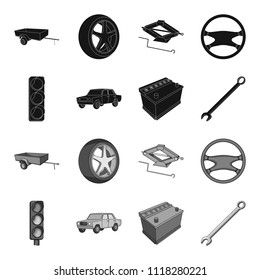 Traffic light, old car, battery, wrench, Car set collection icons in black,monochrome style vector symbol stock illustration web.