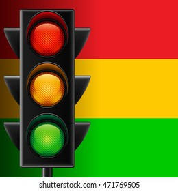 Traffic light on red, yellow and green striped vector background