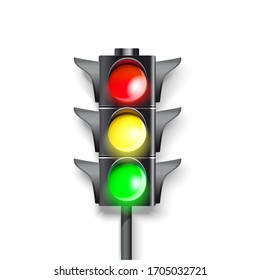 traffic light on a white background.  Burning green, red and green color.