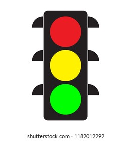 Traffic light. Red, yellow and green lights. Flat stile. Vector illustration.