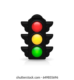 Traffic light with reflection and shadow on white background