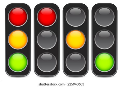 Traffic light, traffic light sequence vector. (Red, yellow, green lights - Go, wait, stop..)