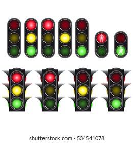 Traffic light set isolated on white background. For Your business. Vetor Illustration